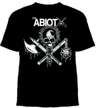 Abiotx- Skull & Weapons on a black YOUTH sized shirt (Sale price!)