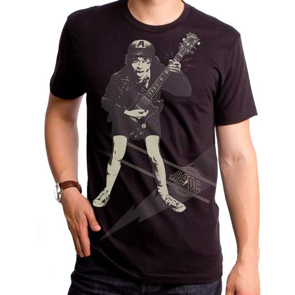AC/DC- High Voltage (Angus) on a black ringspun cotton shirt by Goodie Two Sleeves (Sale price!)