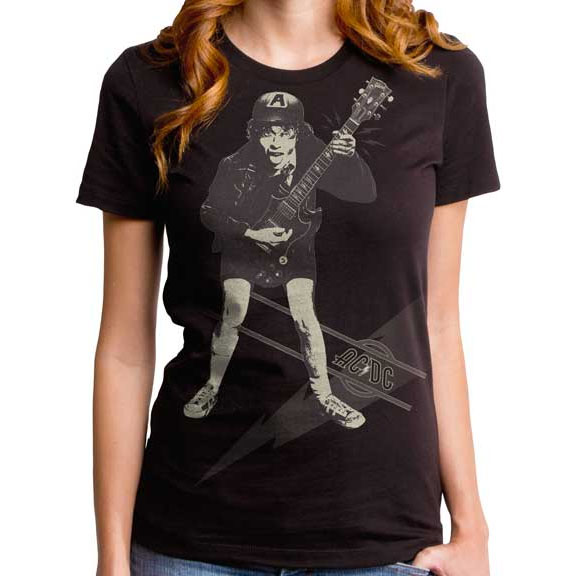 AC/DC- High Voltage (Angus) on a black girls fitted shirt by Goodie Two Sleeves