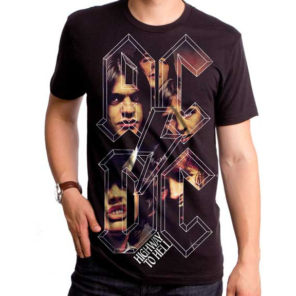 AC/DC- Highway To Hell Stacked Logo Band Pic on a black ringspun cotton shirt by Goodie Two Sleeves (Sale price!)