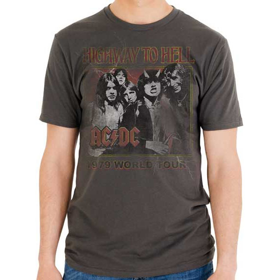 AC/DC- Highway To Hell 1979 World Tour on a charcoal ringspun cotton shirt by Goodie Two Sleeves (Sale price!)