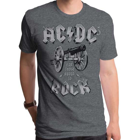 AC/DC- For Those About To Rock on a heather grey ringspun cotton shirt by Goodie Two Sleeves (Sale price!)