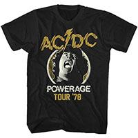 AC/DC- Powerage Tour 78 on a black ringspun cotton shirt