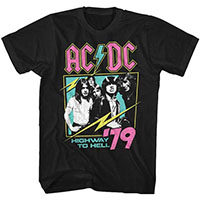 AC/DC- Neon Highway To Hell 79 on a black ringspun cotton shirt