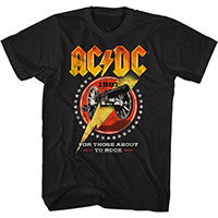 AC/DC- 1981 For Those About To Rock on a black ringspun cotton shirt