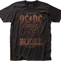 AC/DC- Dec 2 1981 Madison Square Garden on a black ringspun cotton shirt