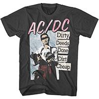 AC/DC- Dirty Deeds Done Dirt Cheap on a charcoal ringspun cotton shirt