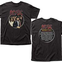 AC/DC- Highway To Hell Band Pic on front, Tour Dates on back on a black shirt