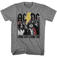 AC/DC- Living Easy, Living Free on a heather grey ringspun cotton shirt