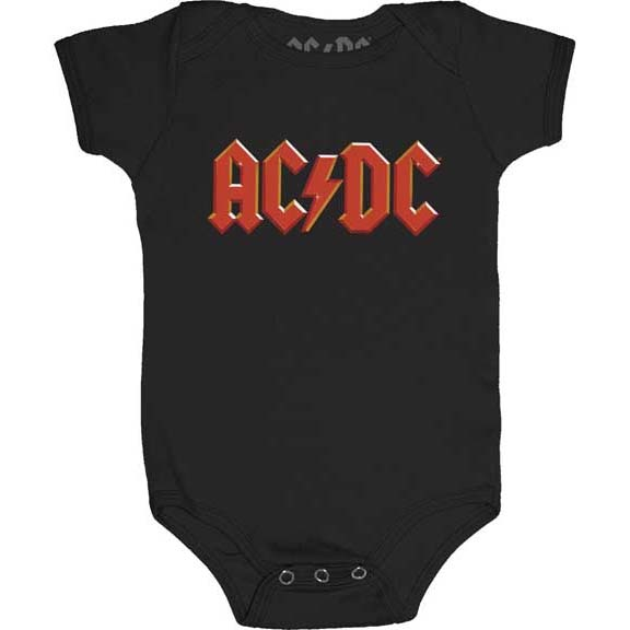 AC/DC- Logo on a black onesie (S-6m, M- 12m, L- 18m)