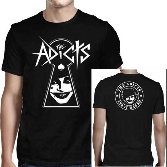 Adicts- Keyhole on front, And It Was So! on back on a black shirt