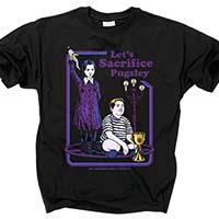 Addams Family- Let's Sacrifice Pugsley on a black shirt