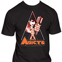 Adicts- Monkey With Microphone In Triangle on a black shirt
