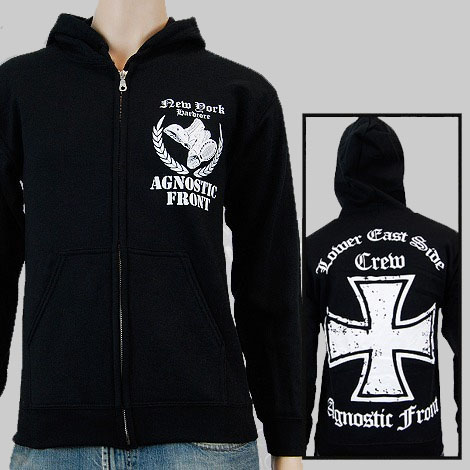 Agnostic Front- New York Hardcore on front, Lower East Side Crew on back on a black zip up hooded sweatshirt (Sale price!)