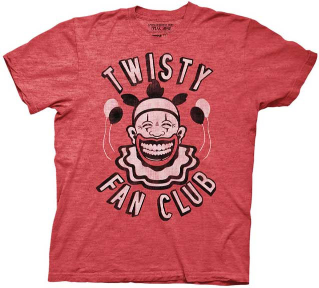 American Horror Story- Twisty Fan Club on a heather red ringspun cotton shirt (Sale price!)