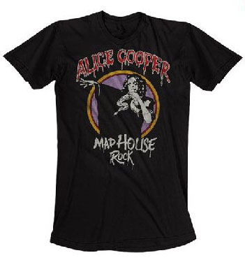 Alice Cooper- Mad House Rock on a charcoal ringspun cotton shirt (Sale price!)