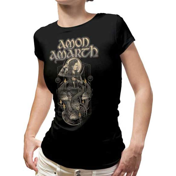 Amon Amarth- Viking And Wolves on front, A Dream That Cannot Be on back on a black girls fitted shirt