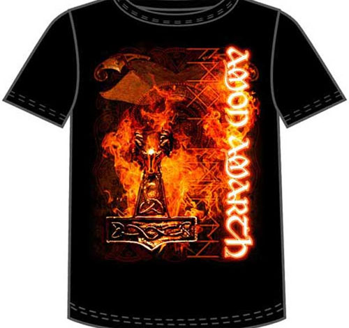 Amon Amarth- Flaming Hammer on a black shirt