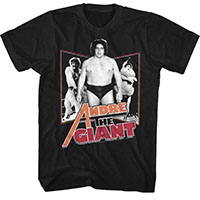 Andre The Giant- 3 Pics on a black ringspun cotton shirt