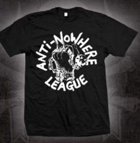 Anti Nowhere League- Fist on a black shirt (Sale price!)