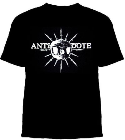 Antidote- Skull & Needles on a black shirt (Sale price!)