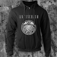 Antischism- Bird on a black zip up hooded sweatshirt