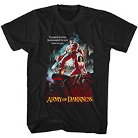 Army Of Darkness- Trapped In Time (Ash With Chainsaw) on a black ringspun cotton shirt