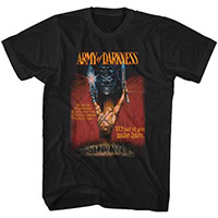 Army Of Darkness- Arms Raised on a black ringspun cotton shirt