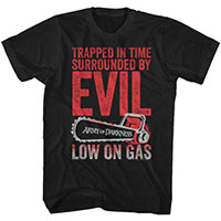 Army Of Darkness- Trapped In Time (Chainsaw Logo) on a black ringspun cotton shirt