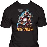Army Of Darkness- Trapped In Time (Ash With Chainsaw) on a black shirt