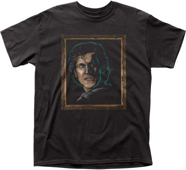 Army Of Darkness- Velvet Painting Of Ash on a black ringspun cotton shirt (Sale price!)