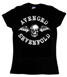 Avenged Sevenfold- Deathbat on a black girls fitted shirt (Sale price!)