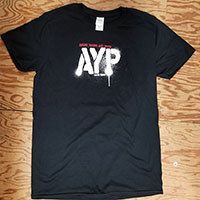 Angry Young And Poor- Since 1995 on a black ringspun cotton shirt