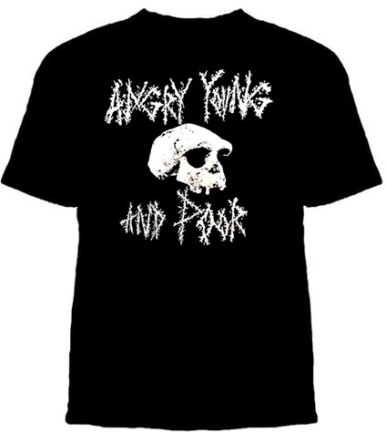Angry Young And Poor- Crusty Skull on a black shirt