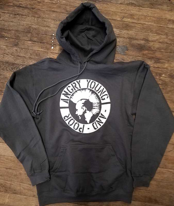 Angry Young And Poor- Mohawk Punk on a charcoal hooded sweatshirt