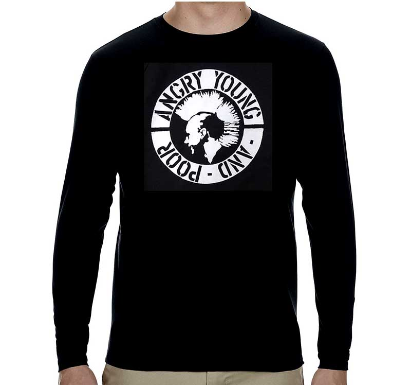 Angry Young And Poor- Mohawk Punk on a black LONG SLEEVE ringspun cotton shirt