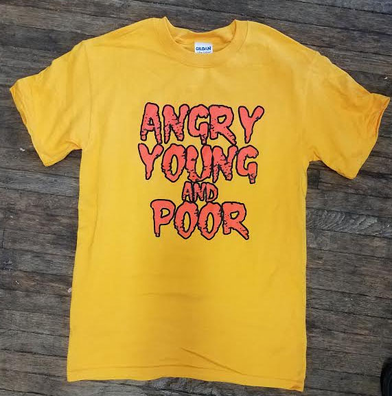 Angry Young And Poor- Orange Logo on a gold shirt