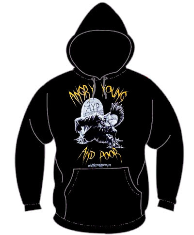 Angry Young And Poor- Zombie With Mouse on a black hooded sweatshirt