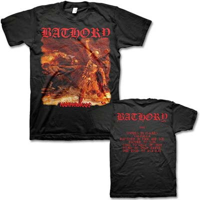 Bathory- Hammerheart on front, Shores In Flames on back on a black shirt