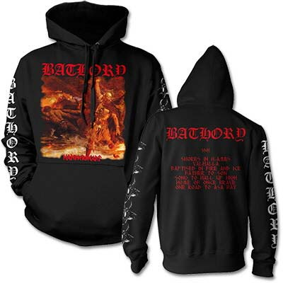 Bathory- Hammerheart on front, Shores In Flames on back on a black hooded sweatshirt
