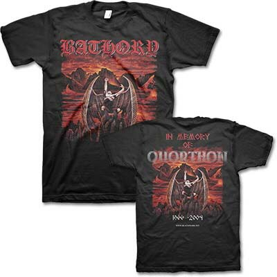 Bathory- Demon on front, In Memory Of Quorthon on back on a black shirt