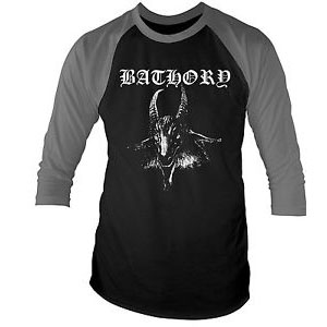 Bathory- Goat on front, Pentagram on back on a black/grey 3/4 sleeve shirt (UK Import!)