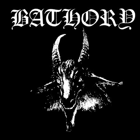 Bathory- Goat Head on a black hooded sweatshirt