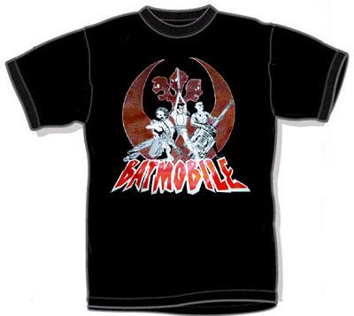 Batmobile- Inter Galactic Batmo Alliance on a black shirt (Sale price!)