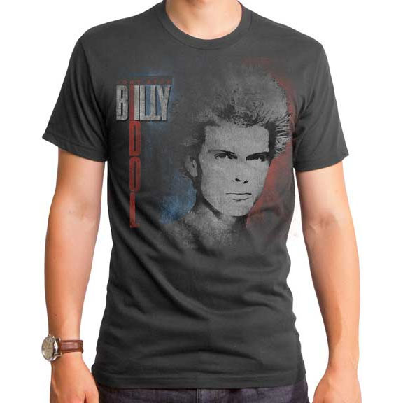 Billy Idol- Don't Stop on a charcoal ringspun cotton shirt (Sale price!)