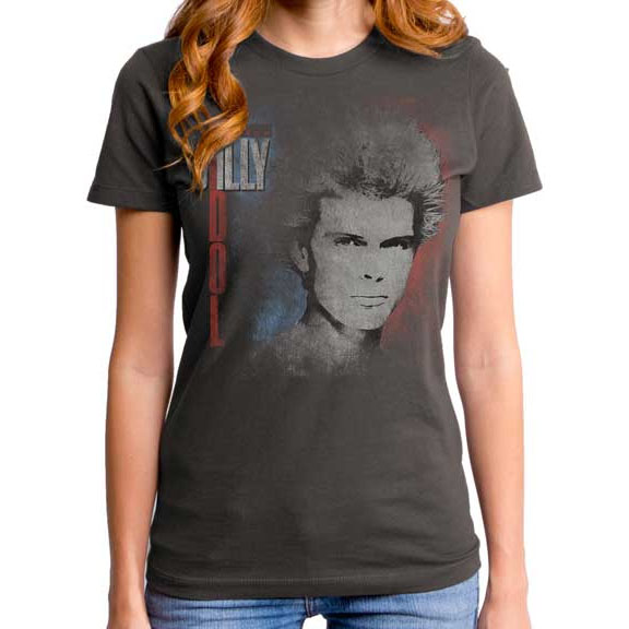 Billy Idol- Face & Red/White Logo on a charcoal girls fitted shirt