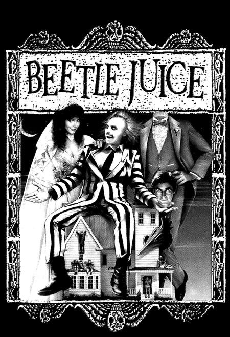 Beetlejuice- Cover on a black hooded sweatshirt
