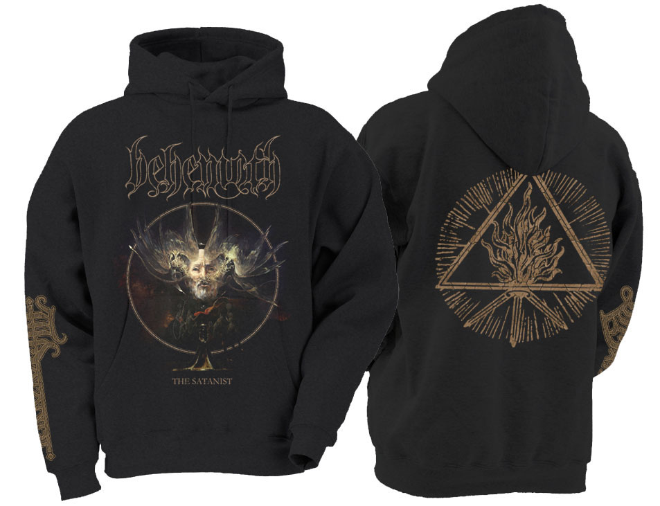 Behemoth- The Satanist on front, Designs on back & sleeve on a black hooded sweatshirt