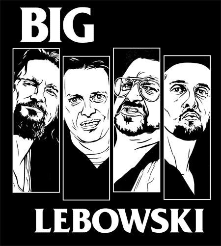 Big Lebowski- Black Flag Faces on a black hooded sweatshirt