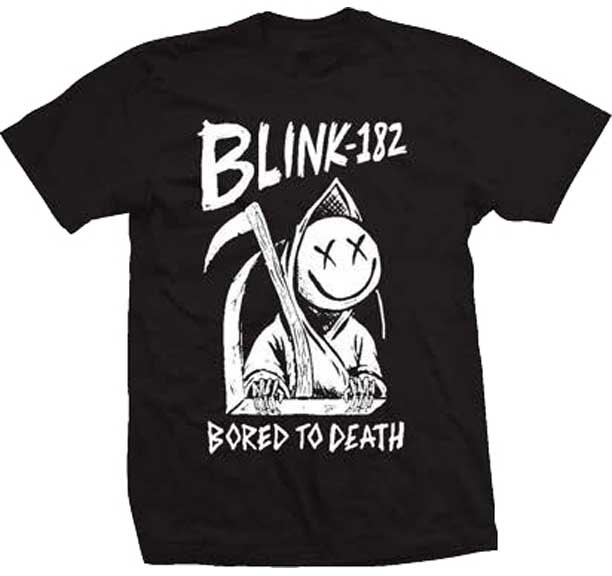 Blink 182- Bored To Death on a black ringspun cotton shirt